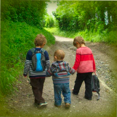 image of walkers setting out on a Forest Walk from Ringwood Waldorf School Parent & Child Group
