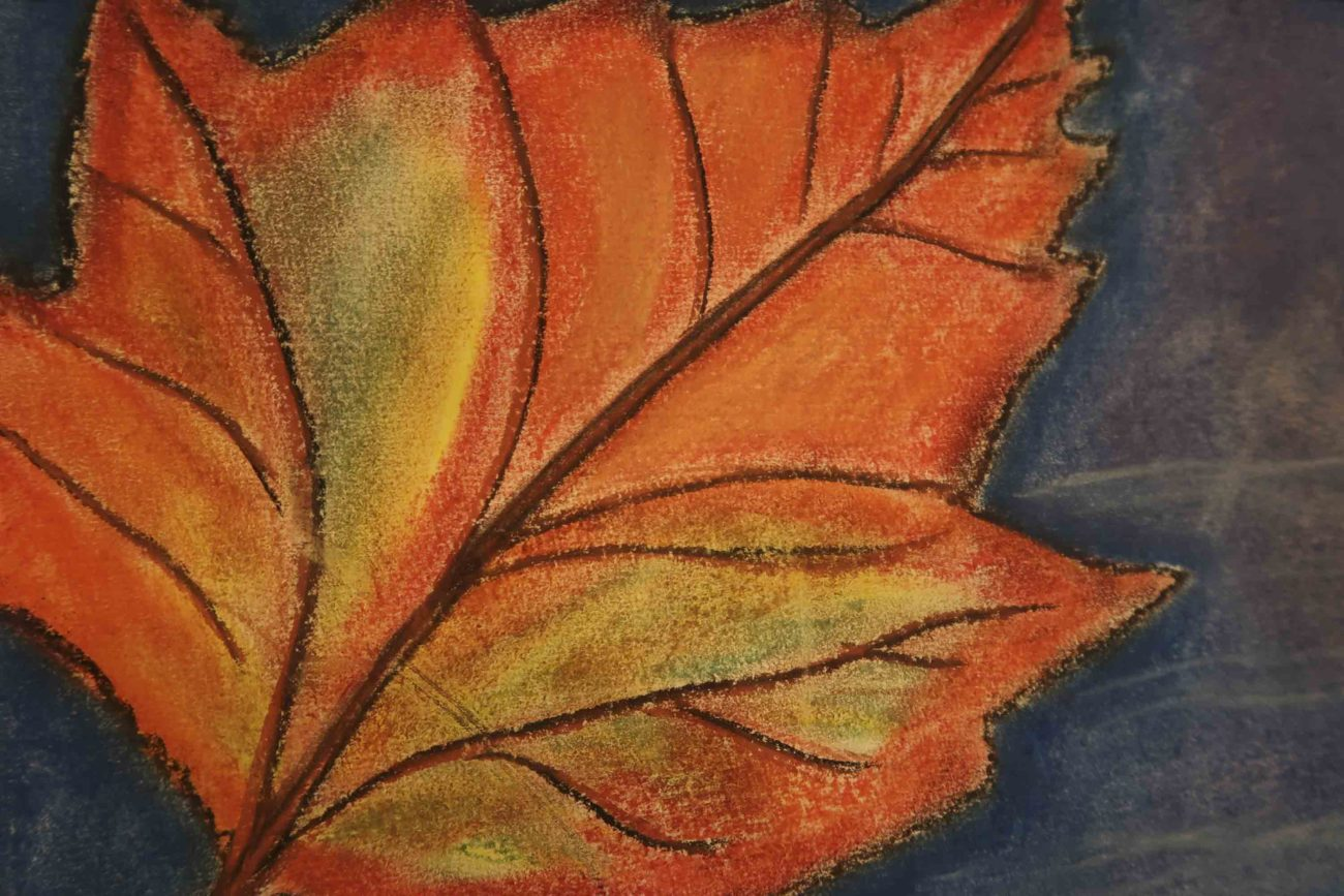 Autumn leaves - painting by Class 8 student at Ringwood Waldorf School