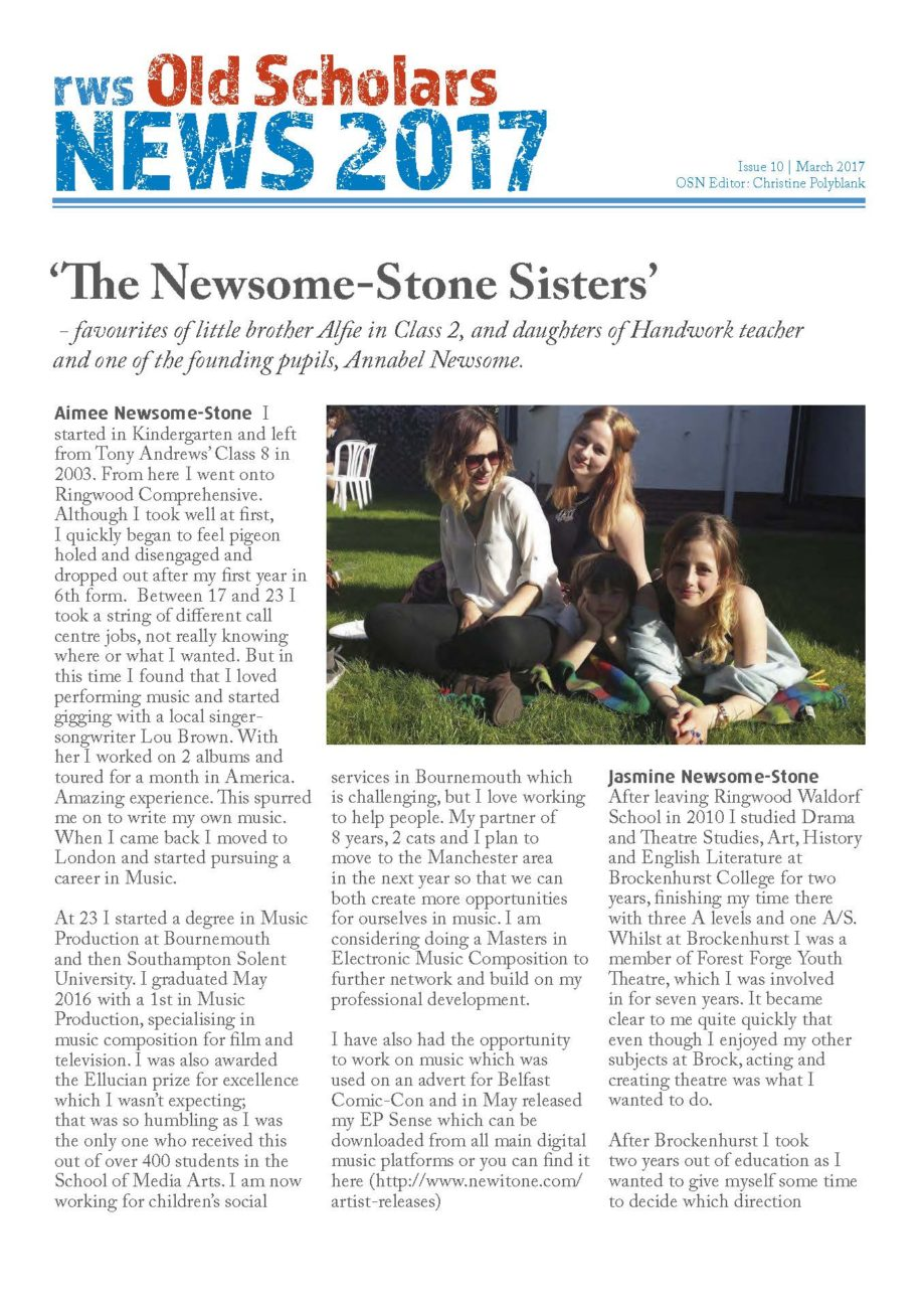 RWS Old Scholars News Issue 10 from Ringwood Waldorf School