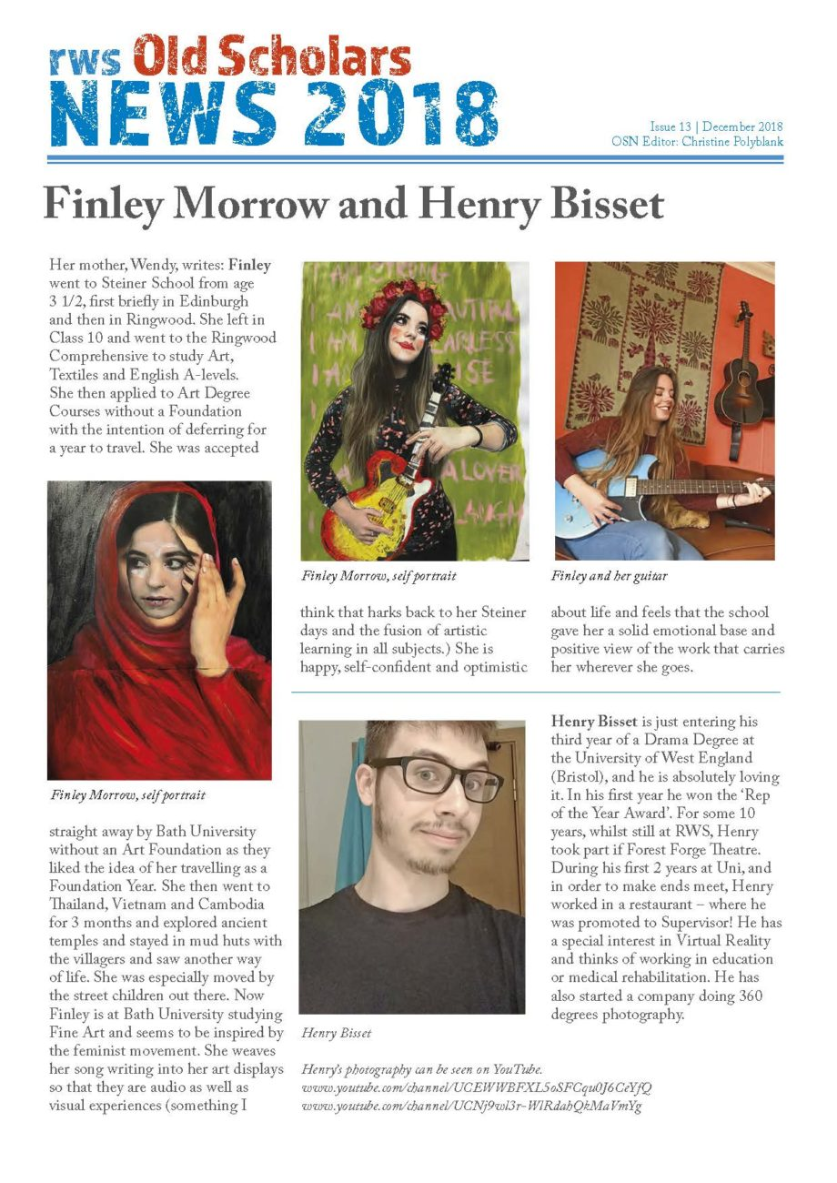 RWS Old Scholars News#13 Finley Morrow & Henry Bisset