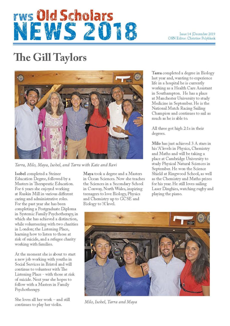 RWS Old Scholars News#14 The Gill Taylor family from Ringwood Waldorf School
