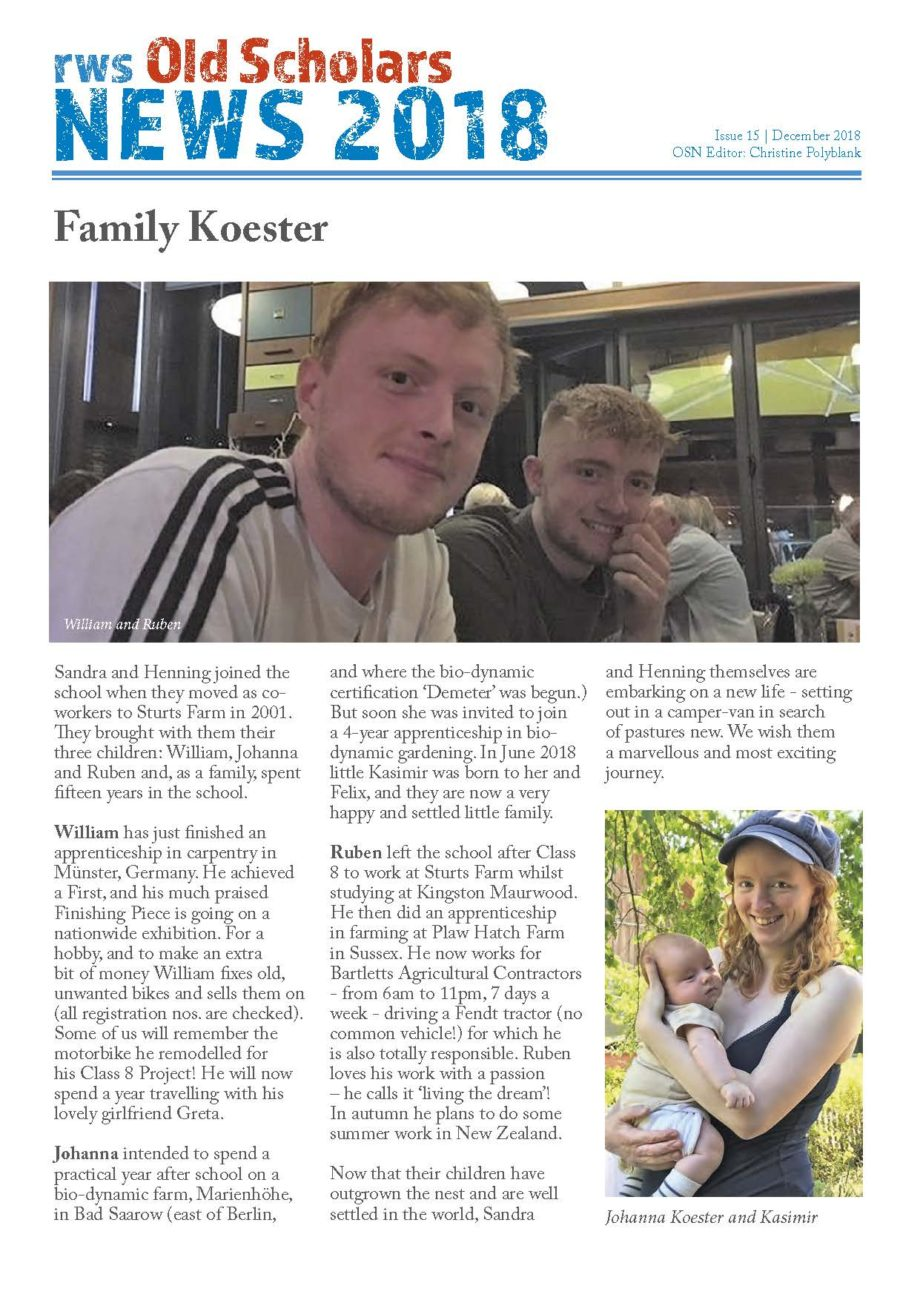 RWS Old Scholars News#15 The Koester family from Ringwood Waldorf School