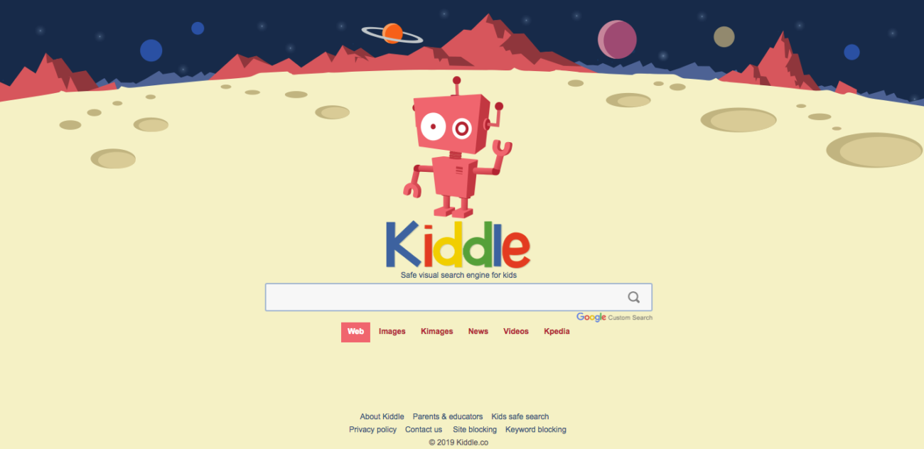 Screenshot of Kiddle browser lhomepage
